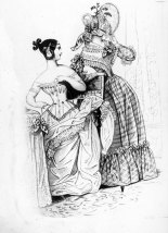 A young Victorian woman lacing her fashionable whalebone corset in the company of a friend.